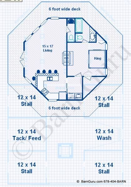 Barn plans 4 stall horse barn living quarters design Barn plans with living space