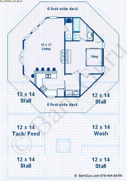 Barn Plans -4 Stall Horse Barn - Living Quarters Design Floor Plan ...