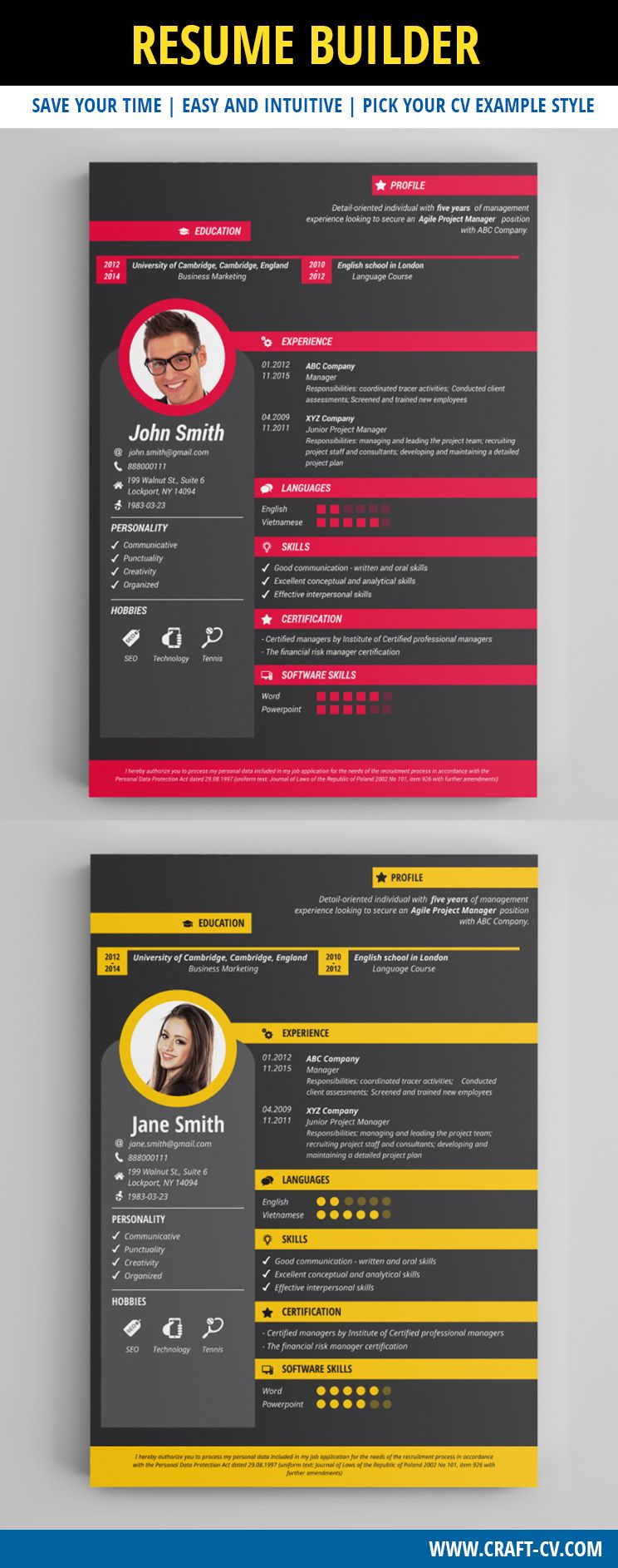 Creative Resume Builder Creative Cv Examples Resume
