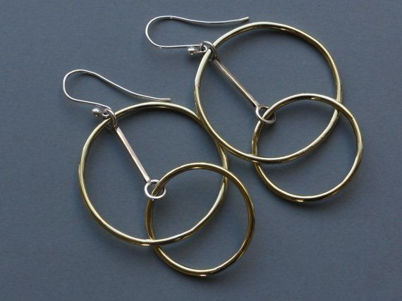 """Earrings made of silver and brass, """"The perfect couple"""