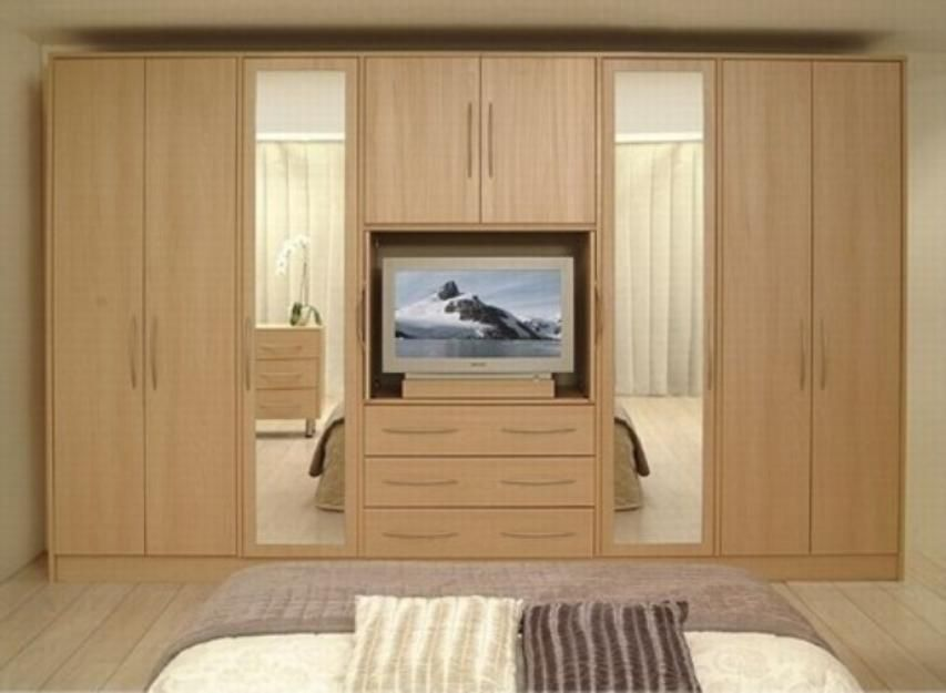 Wooden Bedroom Cupboards With Television Built In Cabinet ...