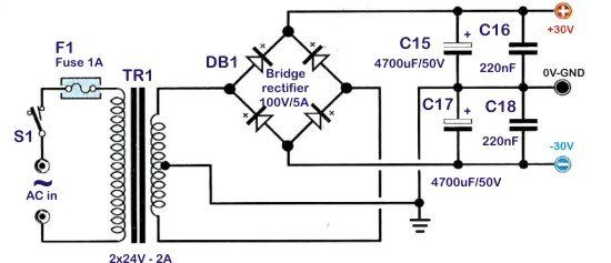 Power supply unit 2x30V for the 30W audio amplifier