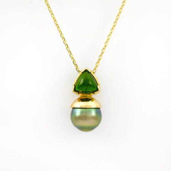 Green chrome diopside and pearl pendant set in 14k gold art deco green chrome diopside and pearl pendant set in 14k gold art deco style necklace fine handmade jewelry black green pearl and diopside aloadofball Image collections