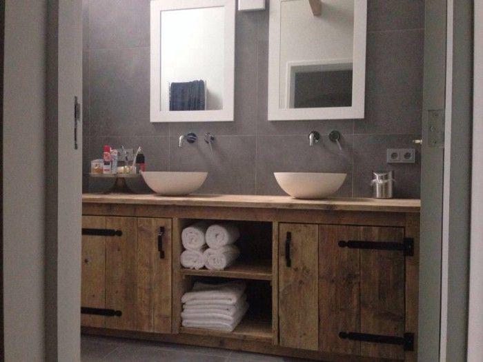 Steigerhouten landelijk badmeubel inrichting huis pinterest - Badkamermeubels oude stijl ...