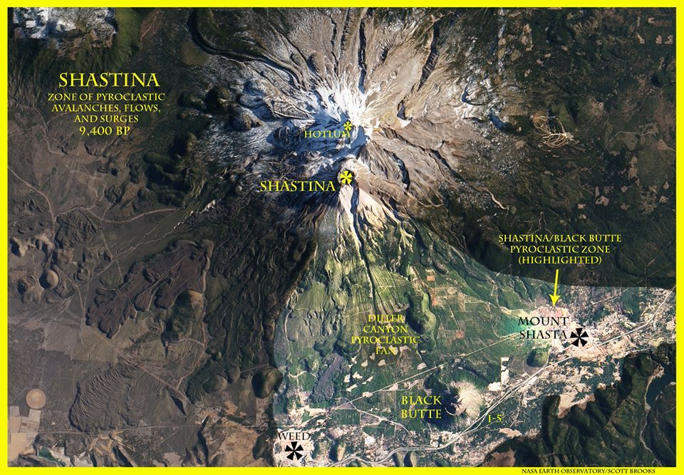A satellite view of Mount Shasta's west flank, with the area most affected by pyroclastic avalanches and flows from Shastina and Black Butte.