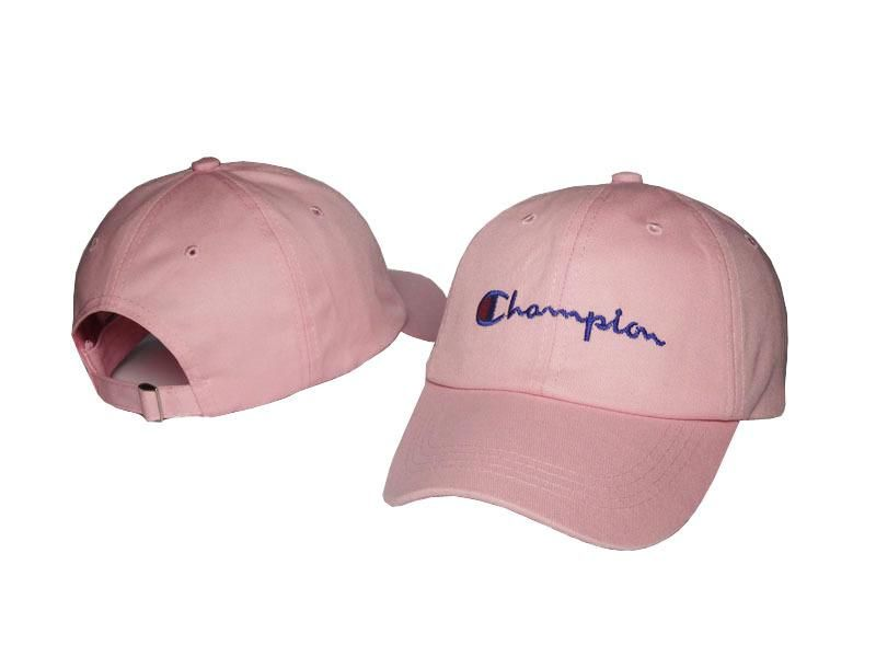 cf99067943a2b Mens   Womens Champion Brand Script Iconic Logo Vintage Golf Fashion  Adjustable Strap Back Cap - Pink