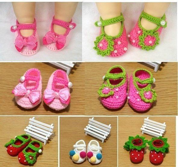 Newborn Baby Infant Girls Crochet Knit Socks Crib Shoes Prewalker 0-12 Months