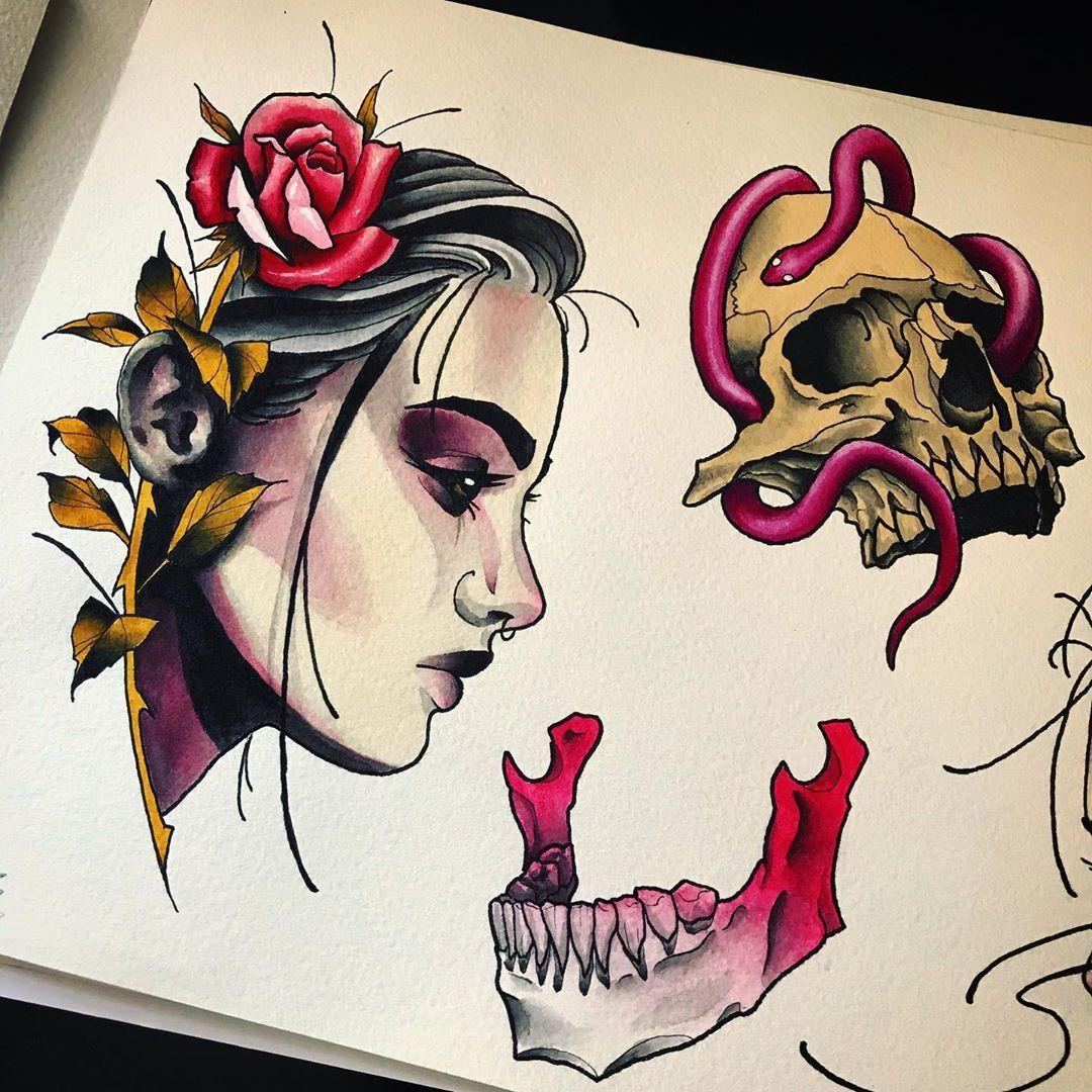 Instagram Jaw Tattoos: Adam OBrien On Instagram: Neotraditional / Neotrad Women