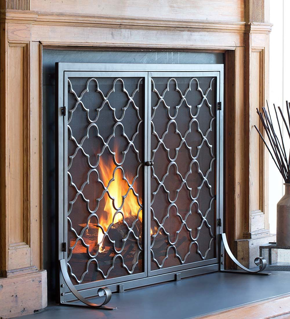 Large Geometric Screen With Doors 44 Quot Fireplace Screens With Doors Fireplace Doors