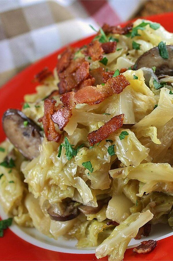 Photo of Southern Fried Cabbage with Bacon, Mushrooms, and Onions