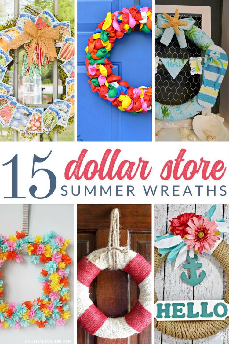 15 Beautiful Summer Wreaths Made From Dollar Store Supplies Summer Wreath Diy Diy Summer Decor Door Wreaths Diy