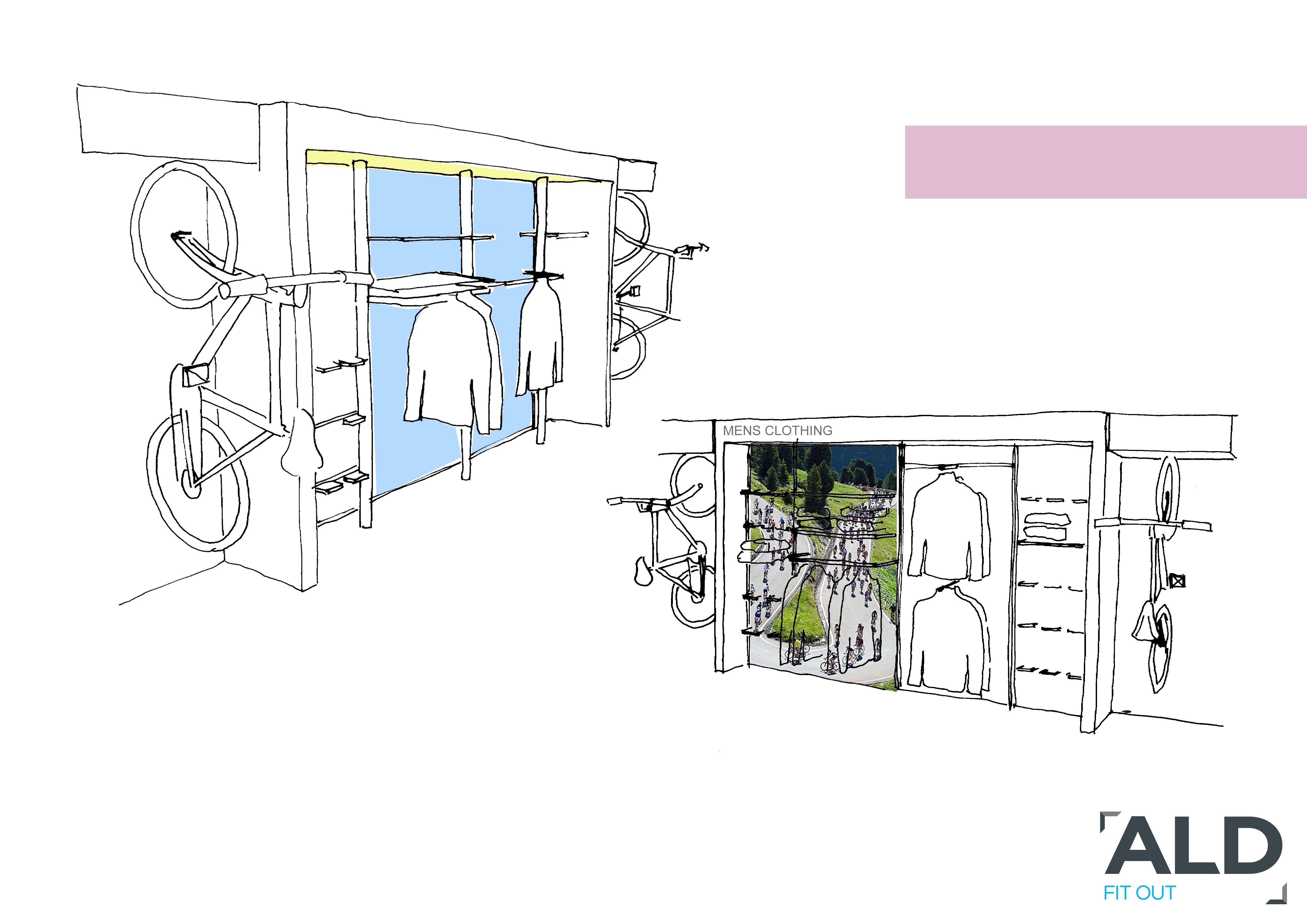 sketch proposal interior design bike shop | VM Guide | Pinterest ...