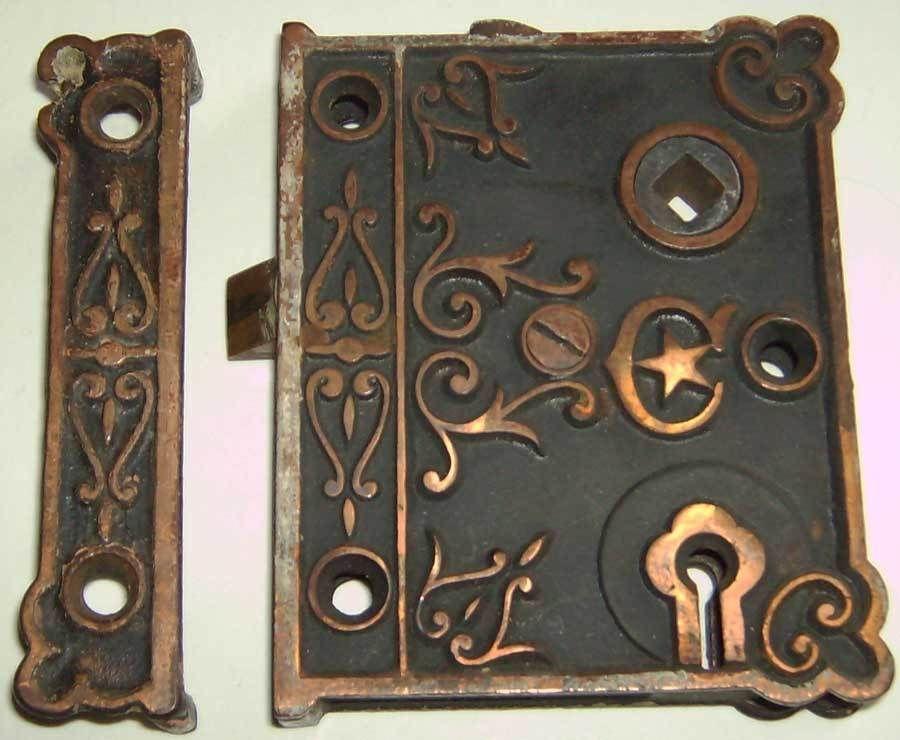 Antique Ornate Door Rim Lock - Cast Iron - Working Condition - Antique Ornate Door Rim Lock - Cast Iron - Working Condition