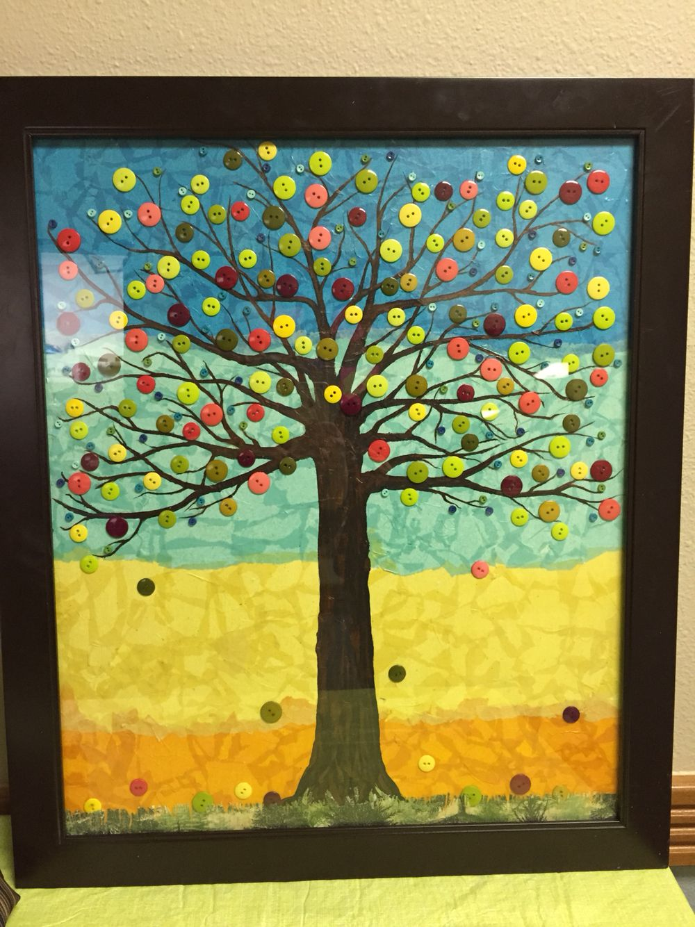 Class project -- button tree -- background is tissue paper sealed in ...