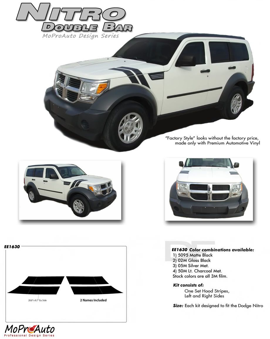 Nitro Doulbe Bar Dodge Nitro Hood Stripes And Hood Decals Vinyl Graphics Kit Fits 2007 2008 2009 2010 2011 2012 Dodge Nitro Nitro Vinyl Graphics