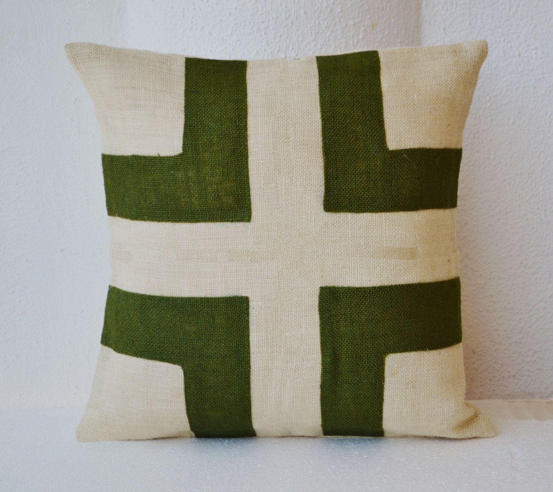 Cream Burlap Throw Pillow Cover With Green Burlap Applique