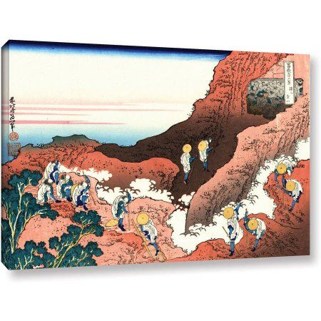 ArtWall Katsushika Hokusai Climbing on Mount Fuji Gallery-Wrapped Canvas, Size: 12 x 18, White