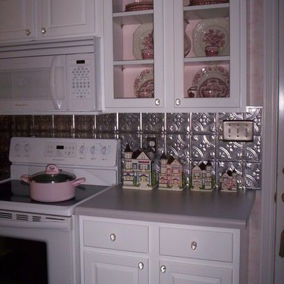 White Cabinets, Grey Counter, Tin Backsplash Design, Pictures, Remodel,  Decor And