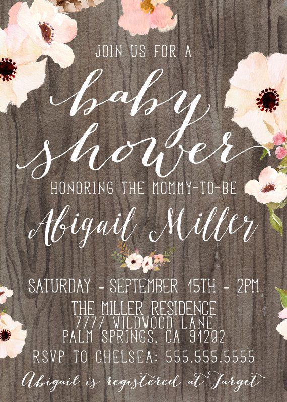 Rustic Baby Shower Invitation Girl Printable By Designanddonuts