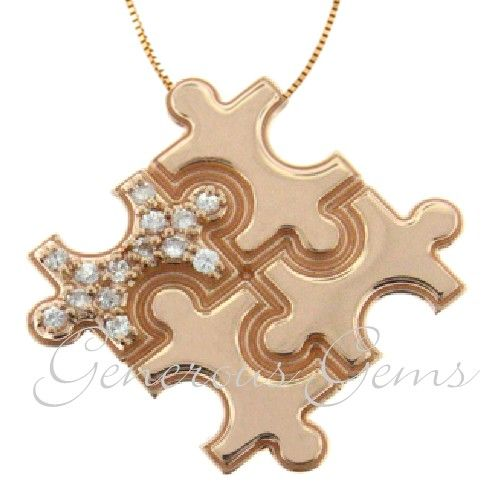 14k Rose Gold Diamond Puzzle Piece Autism Awareness Pendant Autism