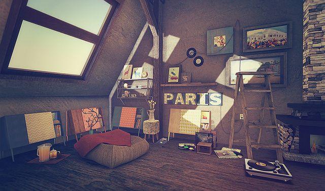 Second Life Interior Decorating Scene Featuring Trompe Loeil