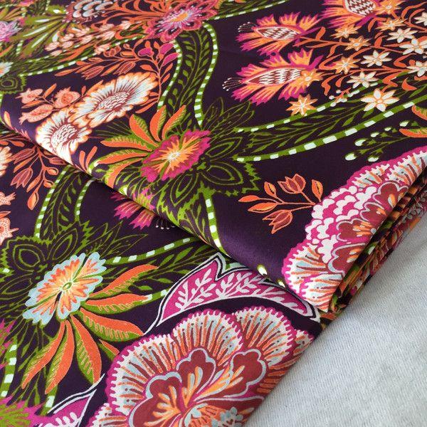 stoff afrikanisch wax print retro flower brown ein designerst ck von stoffe pinterest. Black Bedroom Furniture Sets. Home Design Ideas
