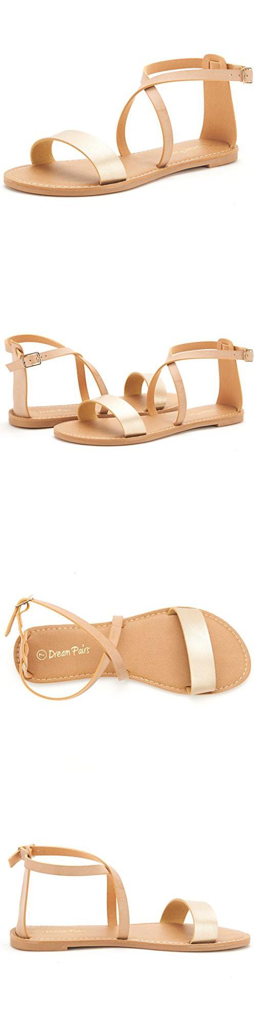 99ce5f2e46d0 DREAM PAIRS CROX New Women Open Toe Fashion Crisscross Valcre Ankle Straps  Summer Design Flat Sandals GOLD-NUDE SIZE 8.5