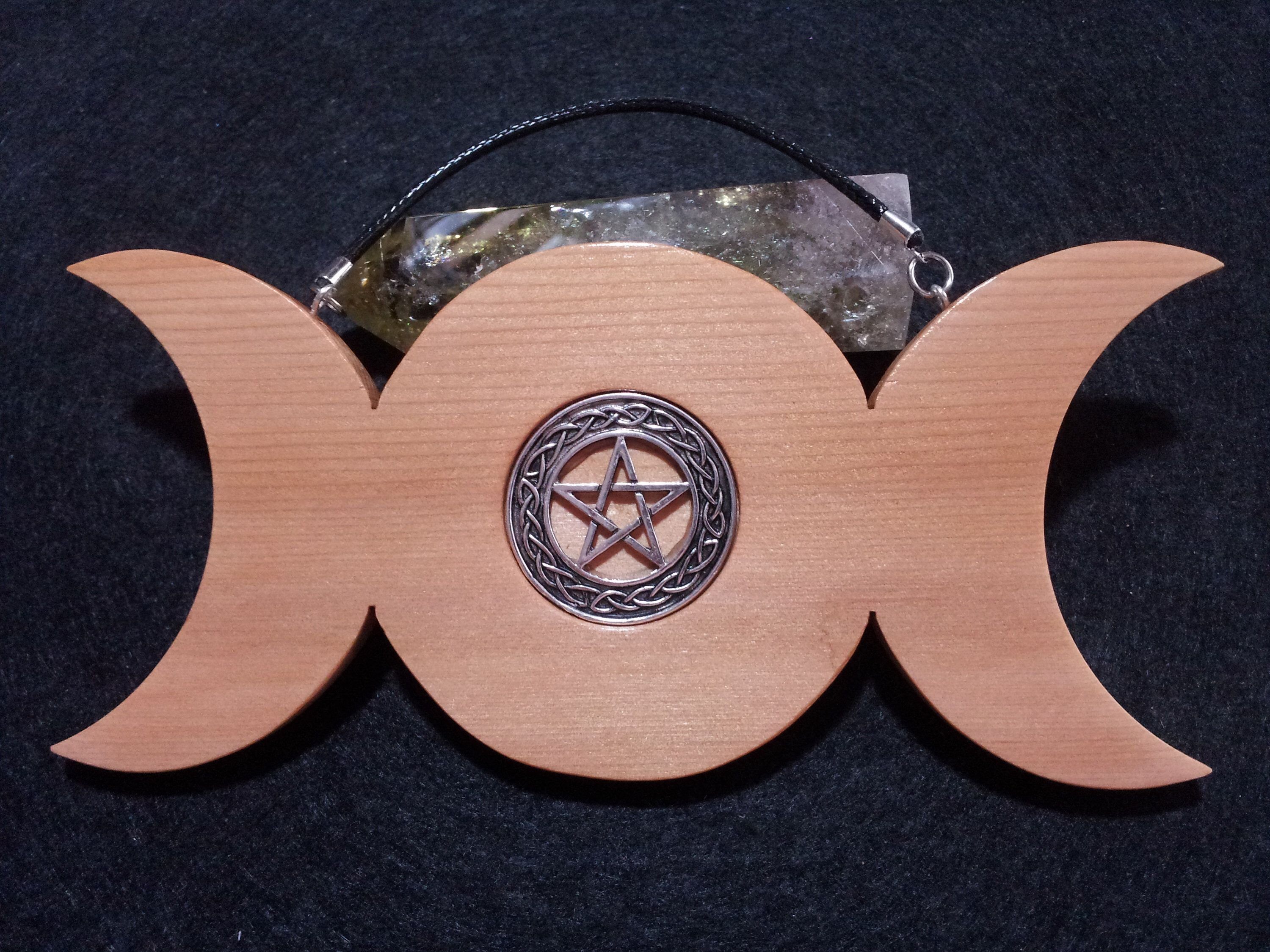 Pentacle Triple Moon Wall Hanging made from Cedar, wiccan decor,Spiritual,Pagan,Wiccan Wall Hanging,Goddess Symbolism,Triple moon wall art #wiccandecor Excited to share this item from my #etsy shop: Pentacle Triple Moon Wall Hanging made from Cedar, wiccan decor,Spiritual,Pagan,Wiccan Wall Hanging,Goddess Symbolism,Triple moon wall art #wiccandecor
