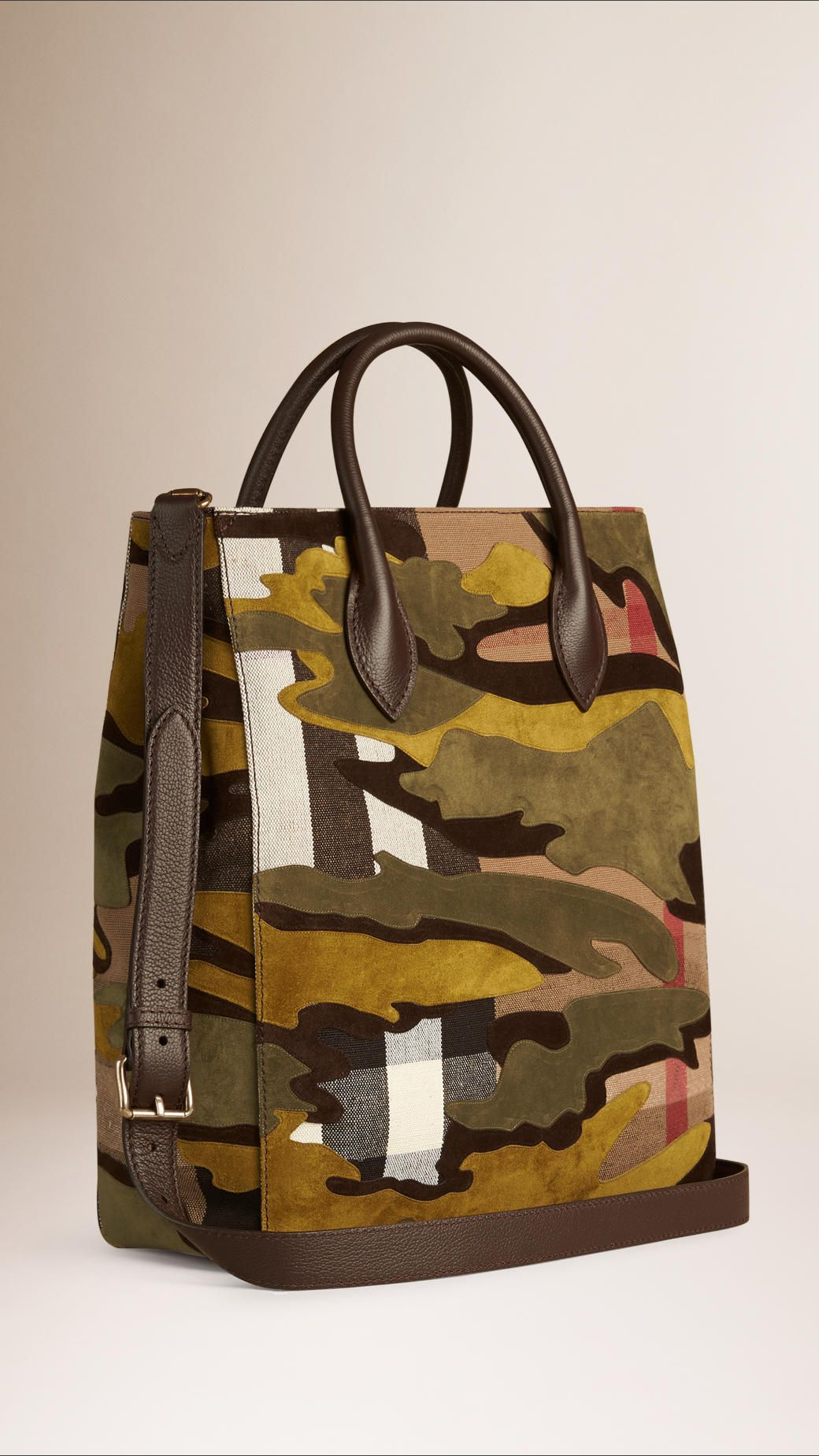 cdfd92b3d533 Burberry   An open-top tote bag crafted from Canvas check with a bonded  suede camouflage pattern. The structured design features rolled handles