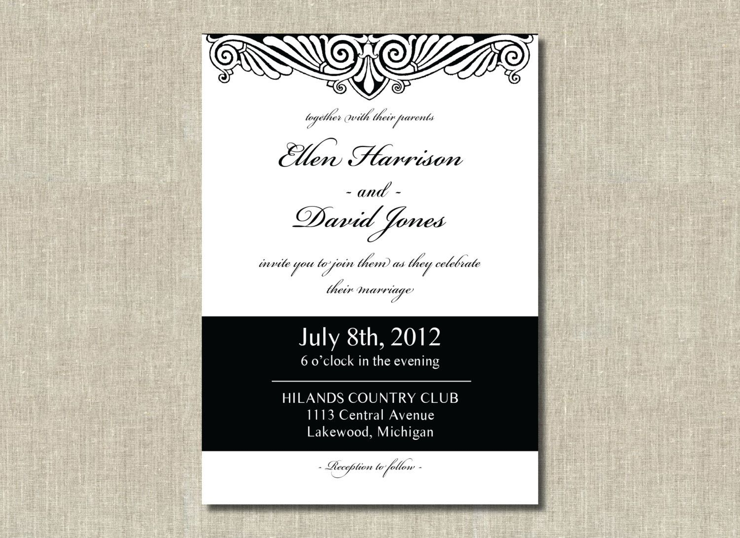 Printable Wedding Invitation Elegant Art Deco Black And White