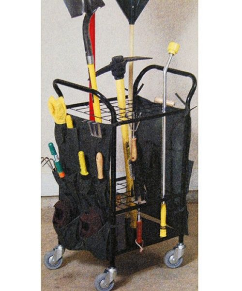 JJ International Garden Tool Caddy with Casters Storage Racks at