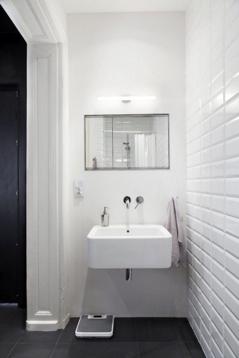 белая плитка кирпич в ванной комнате | Уютный дом | Pinterest ...