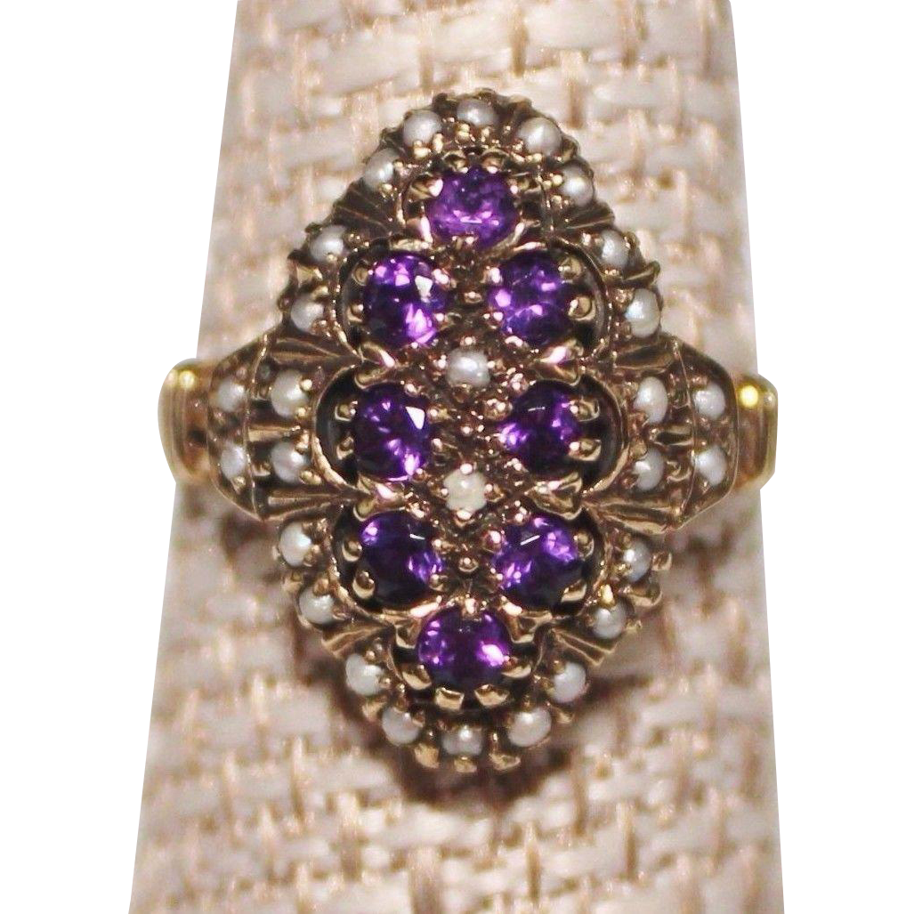 10k Yellow Gold Victorian Style Amethyst & Seed Pearl Ring, Size 7, 4.8 Grams