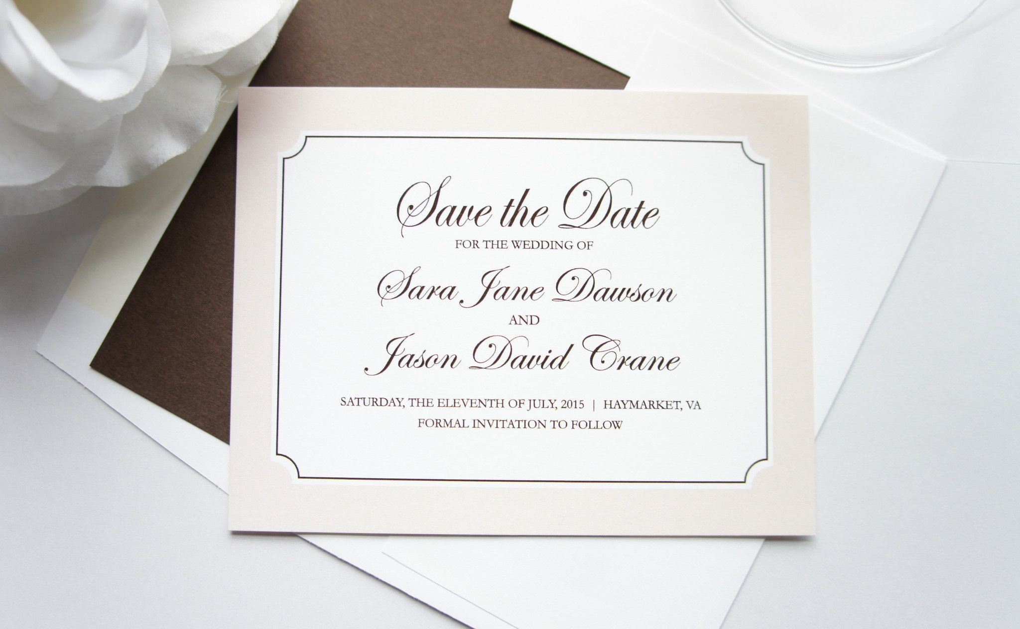 Classic Beige Save the Date Card - DEPOSIT | Wedding invitation sets ...