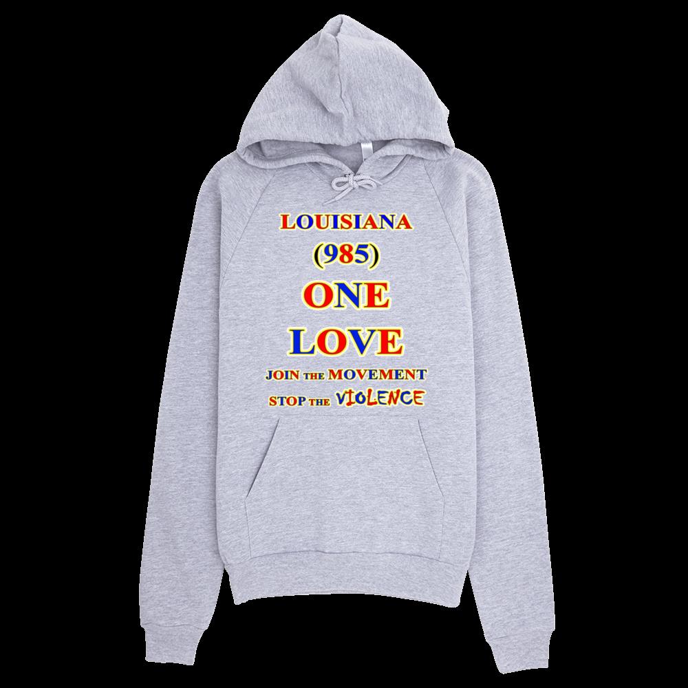 H LOUISIANA Area Code ONE LOVE HOODIE - Area code 985