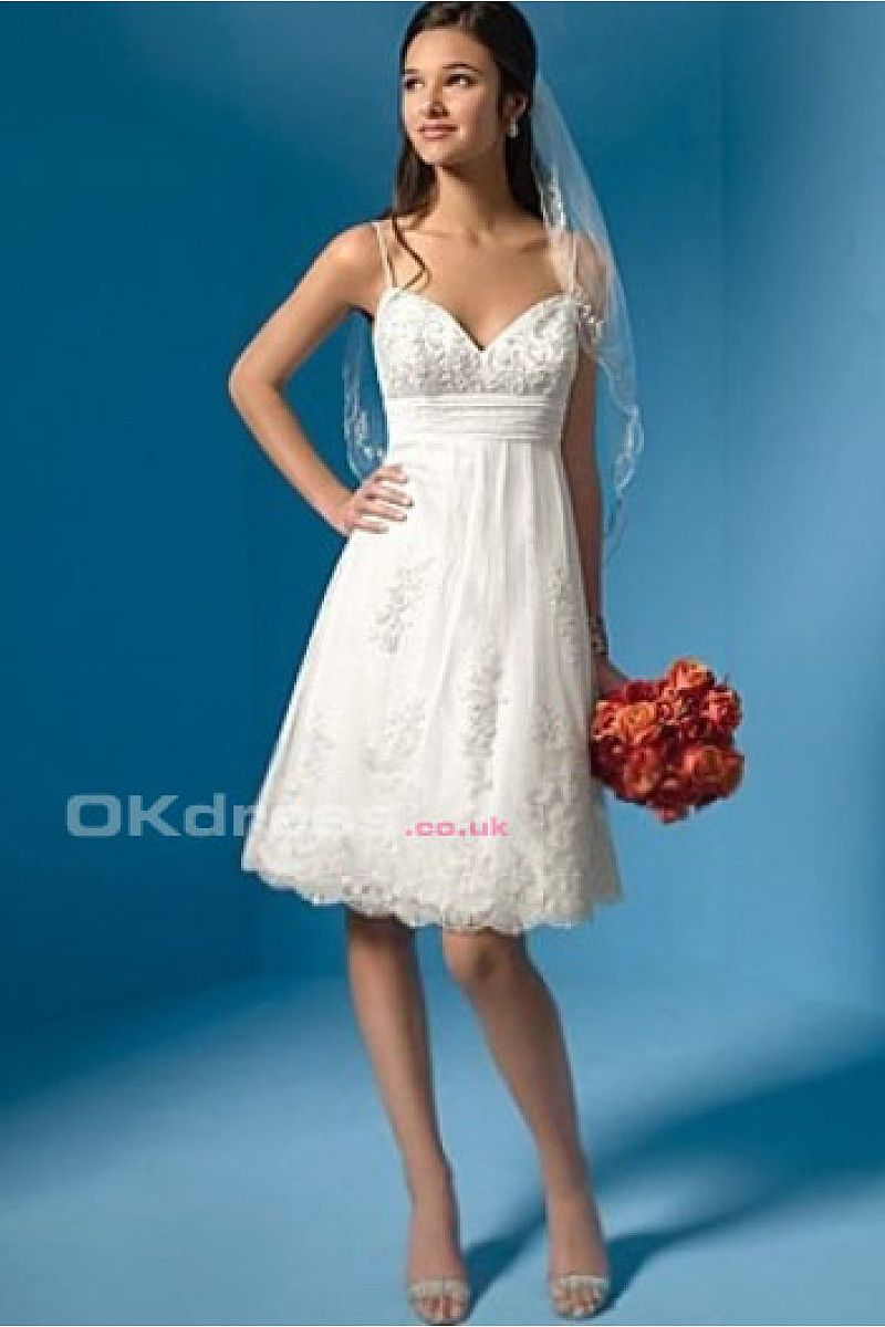 A-line Straps Sweetheart Lace Chiffon Short Wedding Dresses - by ...