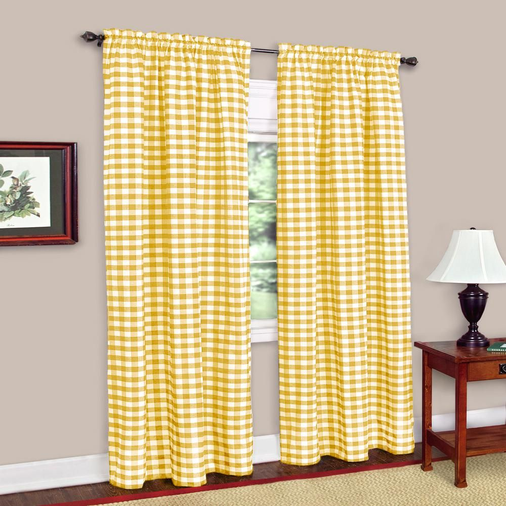 Achim Buffalo Check Yellow Polyester Cotton Curtain Panel 42 In W X 84 In L Panel Curtains Curtains Drapes Curtains