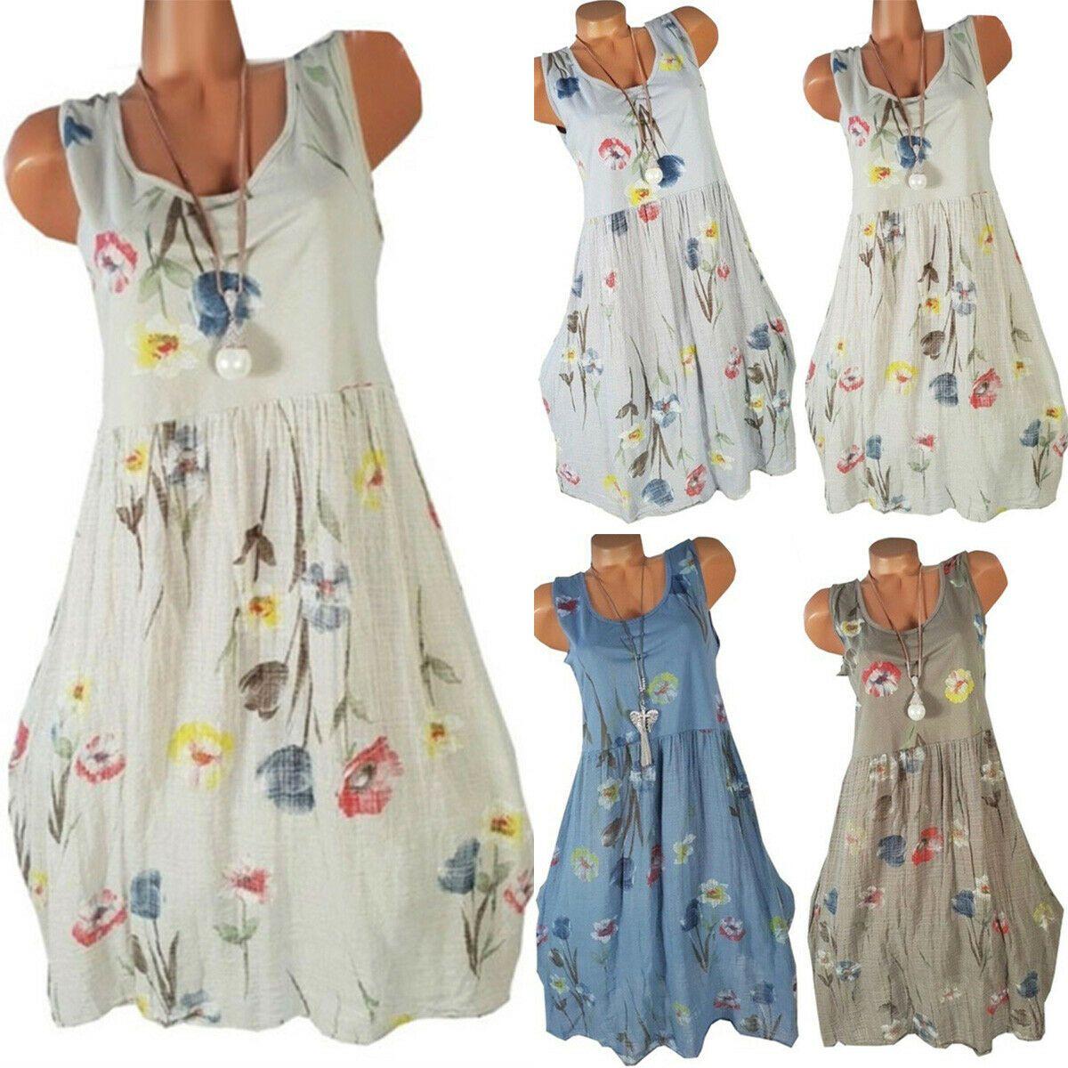 Damen Blumen Kleid Trägerkleid Party Sommerkleid Freizeitkleid