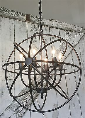 Industrial Round Chandelier Light Fixture Globe Metal Rustic
