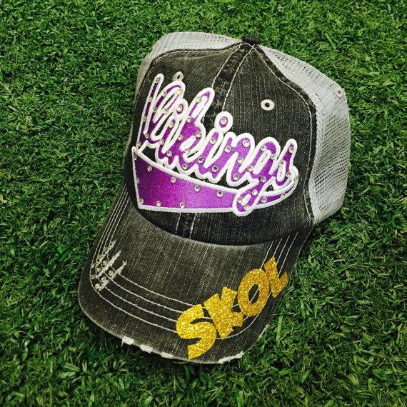 10055f449a4c9 Minnesota Vikings Baseball Bling Ladies Womens Trucker Hat ...