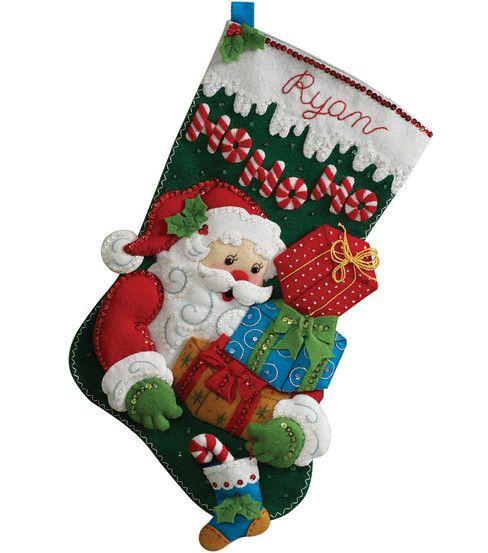 christmas stockings pictures Ho Ho Ho Santa Stocking Felt Applique