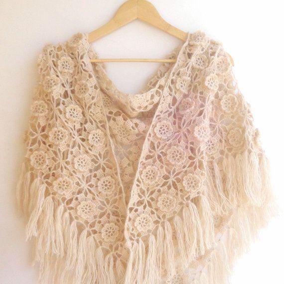 spring crochet beige floral shawl ,crochet women shawl scarf ,wedding wrap , bridesmaid gift , mohair shawl on Etsy, $75.00