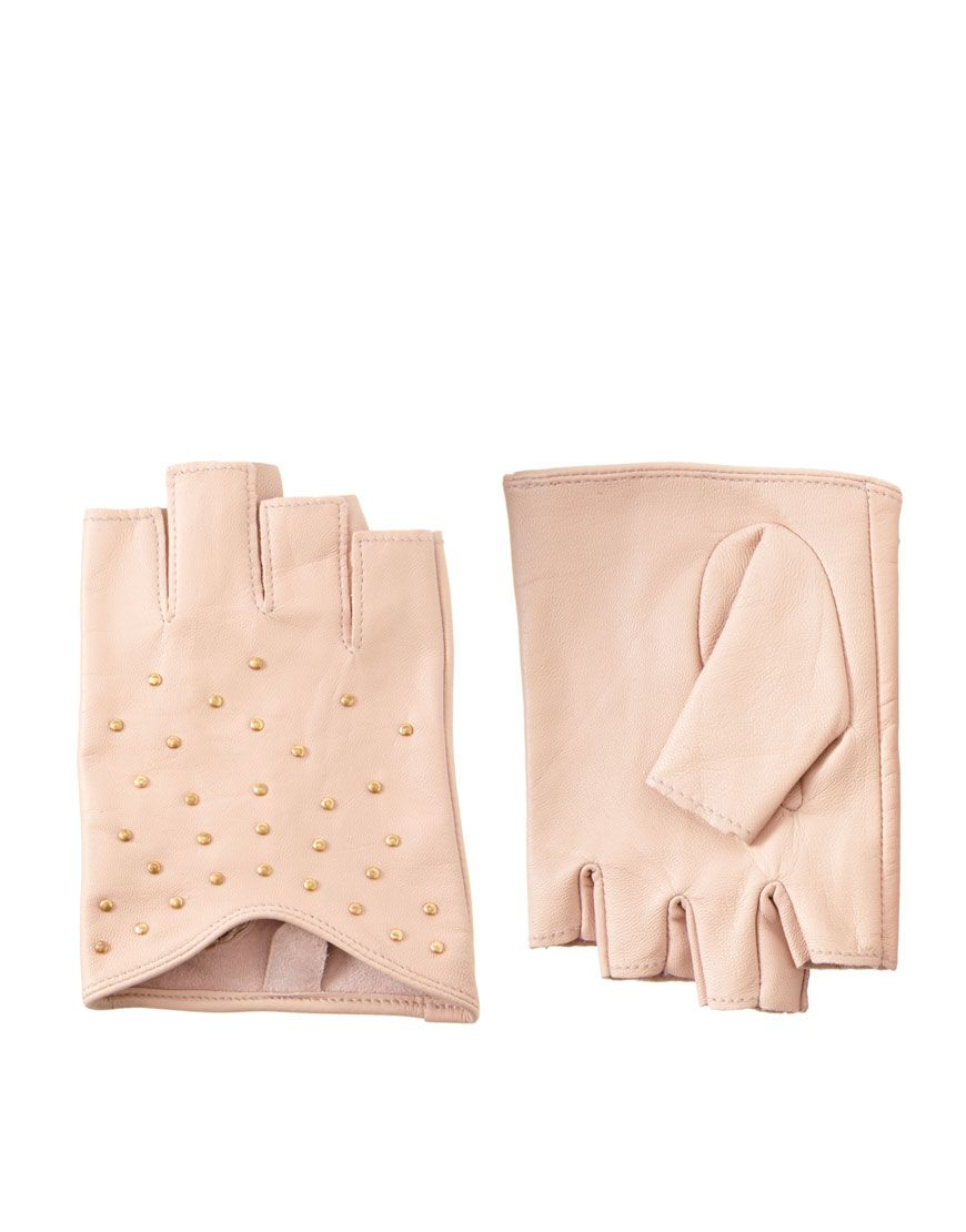Black leather gloves asos - Asos Leather Cut Away Fingerless Flat Stud Gloves