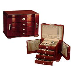 HandLined Wooden Jewelry Box with Lock and Key Jewelry Boxes