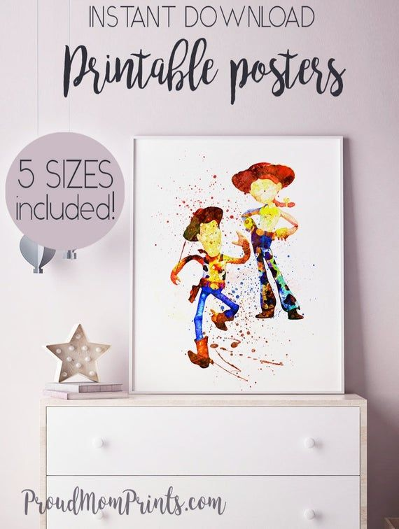 TOY STORY Print Poster Watercolour Framed Canvas Wall Art Gift idea Andy Woody