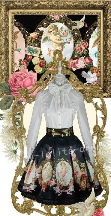 ★★★ Exclusive Sale: Empress Moon™ *Cupid's Prayer* Lolita Skirt ★★★ Custom Sizing Available >> http://www.my-lolita-dress.com/empress-moon-elegant-angel-theme-black-lolita-skirt-em-1