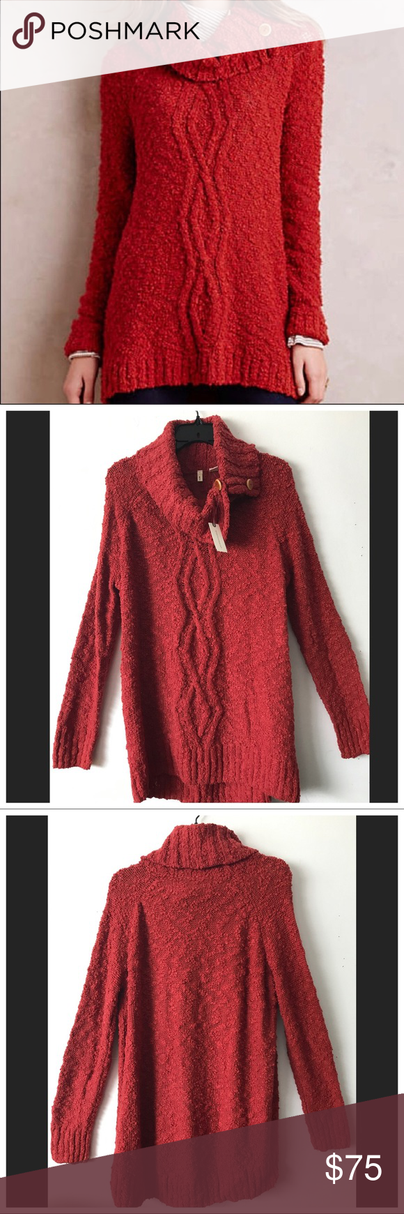 NWT Anthropologie Moth Button Cowl Neck Sweater L Boutique | Cowl ...