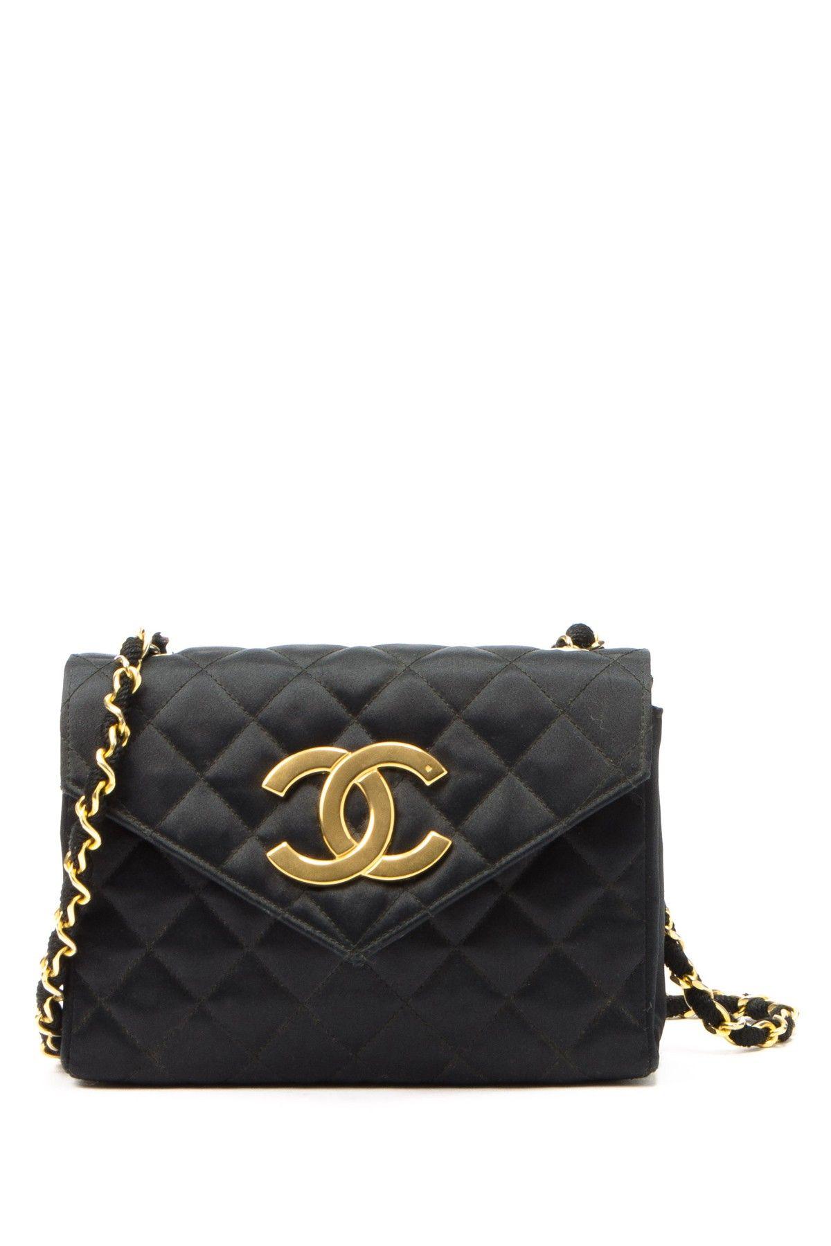 Vintage Chanel Satin Matlasse Chain Shoulder Bag Sac Chanel Cru,  Porte-monnaie Chanel, 3aa3bf16f9a