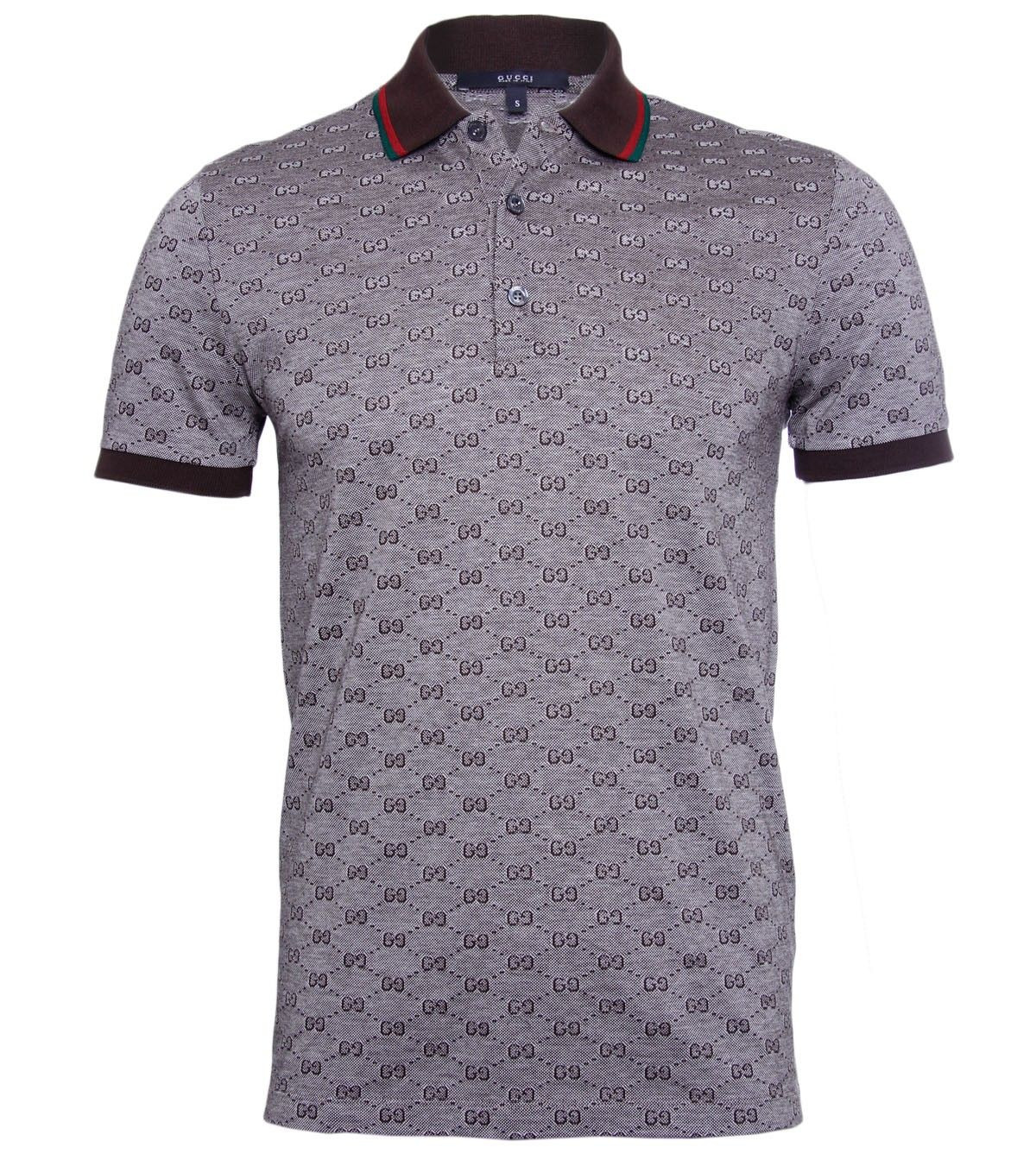 6e548684b Gucci Grey GG Print Brown Collar Polo Shirt  267