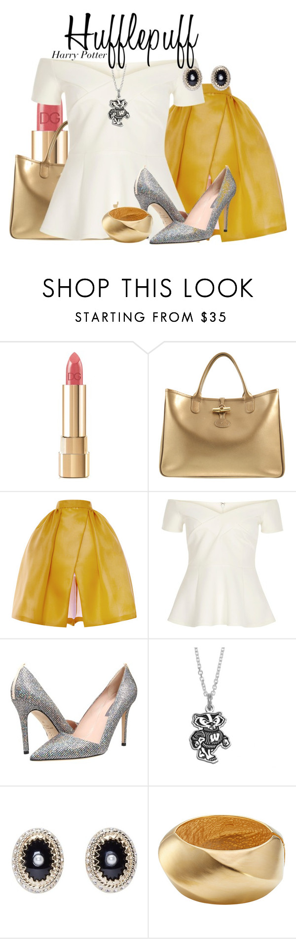 """""""Hufflepuff - Harry Potter"""" by nerd-ville ❤ liked on Polyvore featuring Dolce&Gabbana, Longchamp, Delpozo, River Island, SJP, Fiora, Givenchy, Kenneth Jay Lane and harrypotter"""